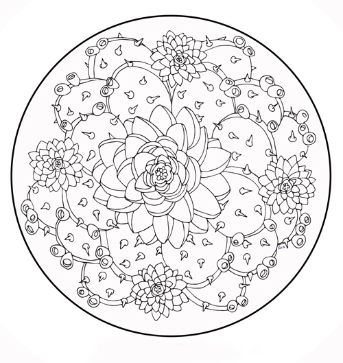 Prickly Pear Petals Coloring Sheet