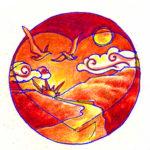 Rebecca Orange Birds Heart Mandala
