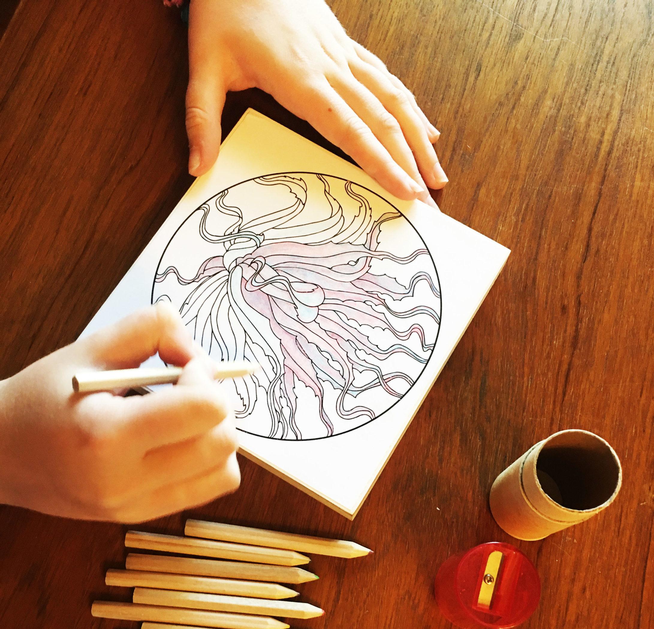 coloring in a mandala